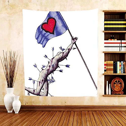 Gzhihine Custom tapestry Love Decor Tapestry A Warrior Wounded by Arrows Holding the Flag of Love When Dying Illustration for Bedroom Living Room Dorm Blue White