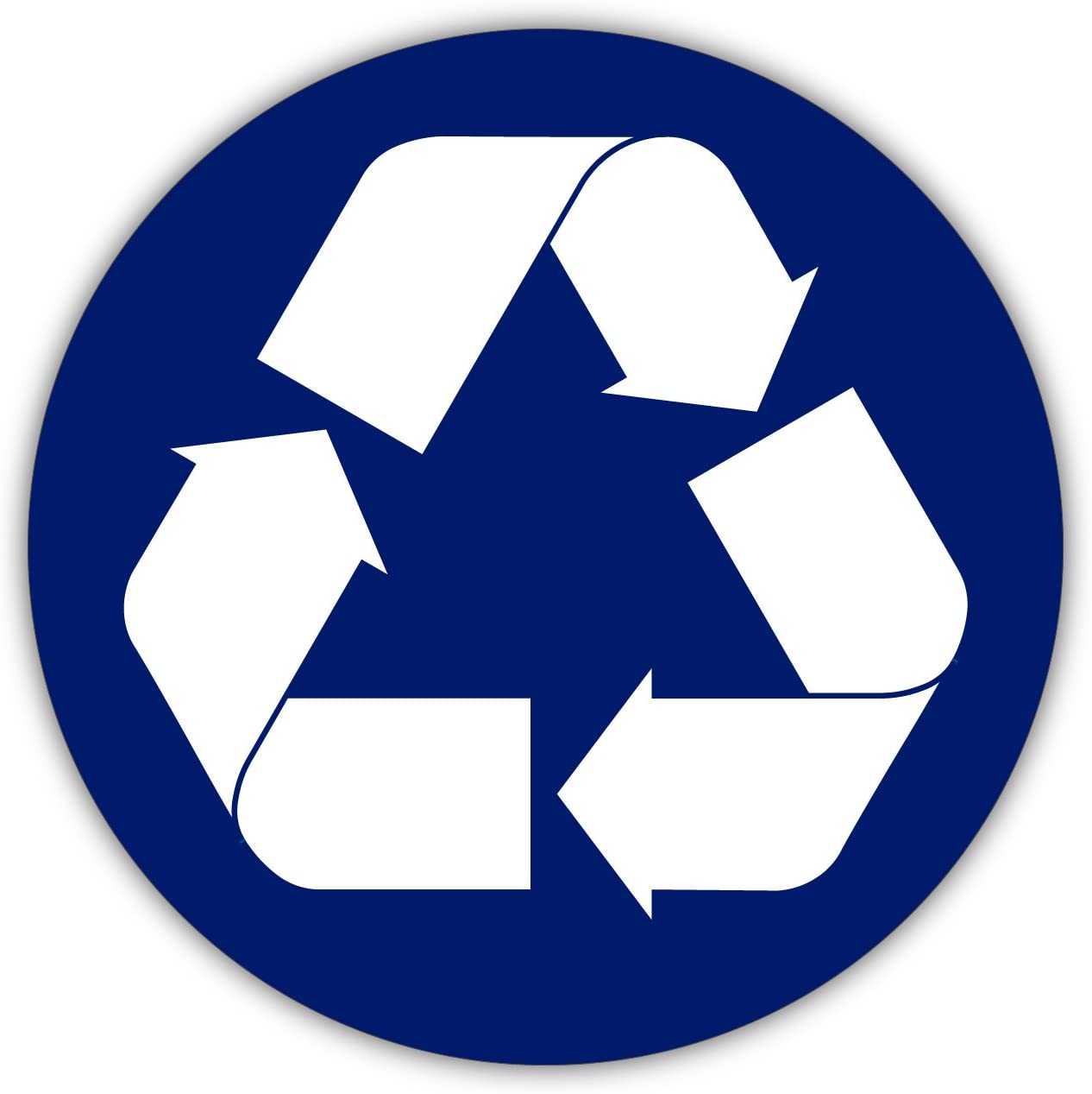 """Blue Recycle SIGN Logo Circle sticker decal 4/"""" x 4/"""" Laptop Computer Window"""