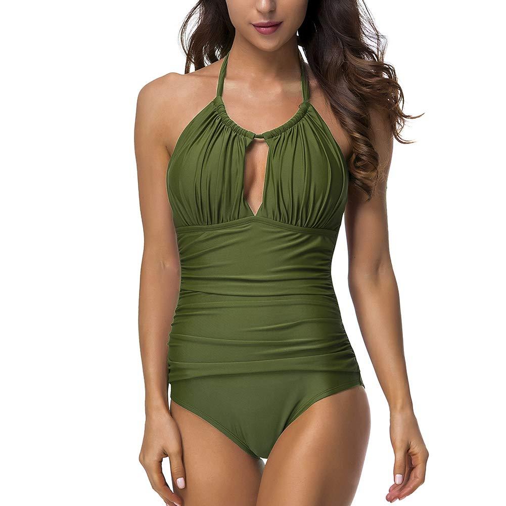 DUSISHIDAN Women's Sexy Monokini Ruched Tummy Control Swimwear One Piece Swimsuit for Women