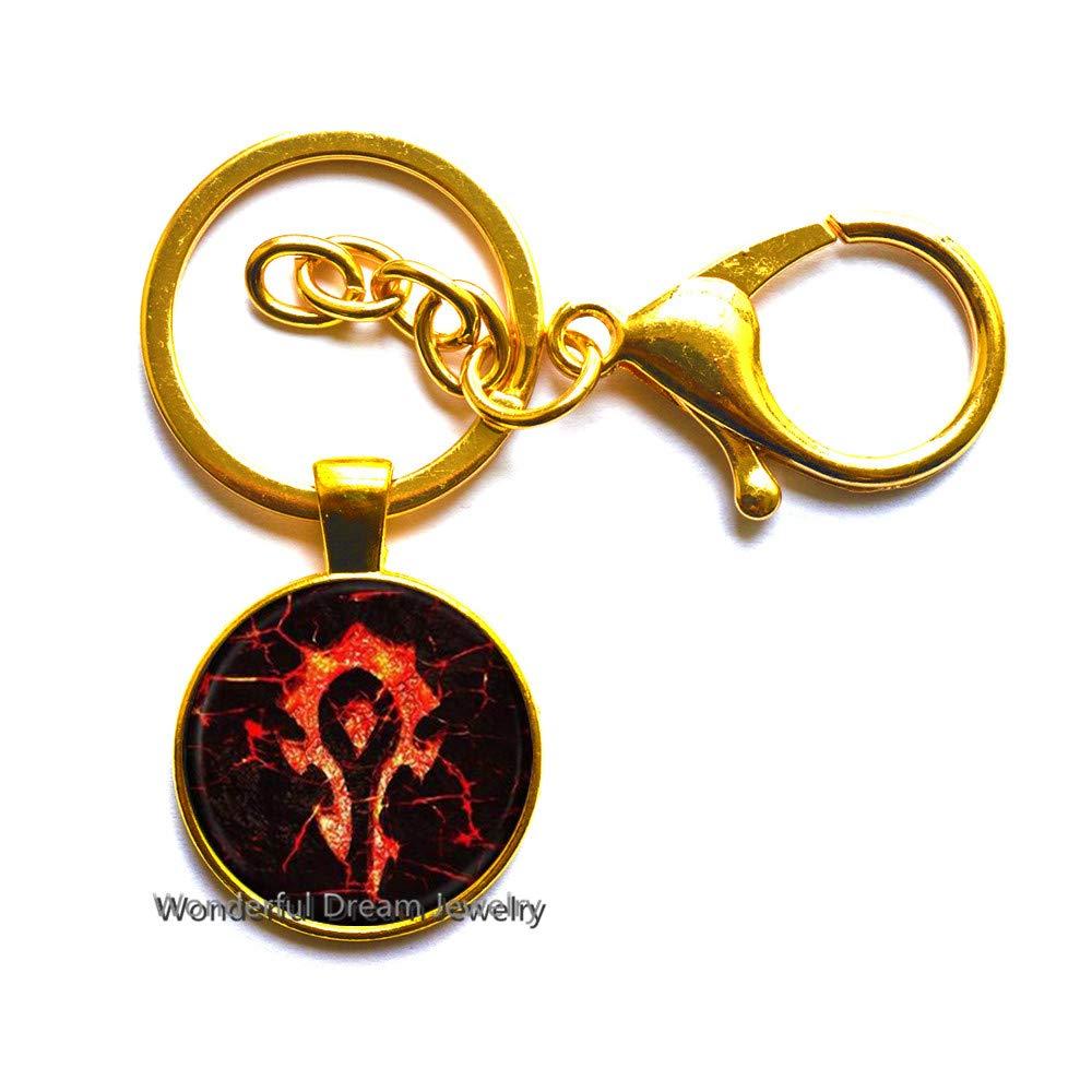 Llavero con el logo de Horde, de cristal, diseño de cabujón, ideal ...
