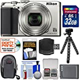Nikon Coolpix A900 4K Wi-Fi Digital Camera (Silver) 32GB Card + Case + Battery + Flex Tripod + Kit
