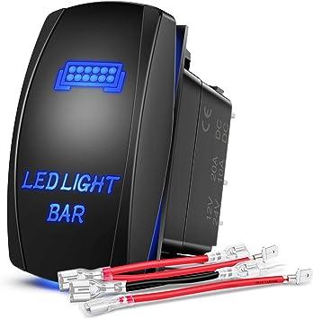 amazon.com: nilight - 90001b led light bar rocker switch 5pin laser on/off led  light 20a/12v 10a/24v switch jumper wires set for jeep boat trucks,2 years  warranty: automotive  amazon.com