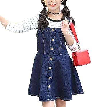 efef3b28d9a4d YY-Natuhi 子供服 女の子 デニムワンピース ニットセーター 二点セット サロペット スカート 長袖