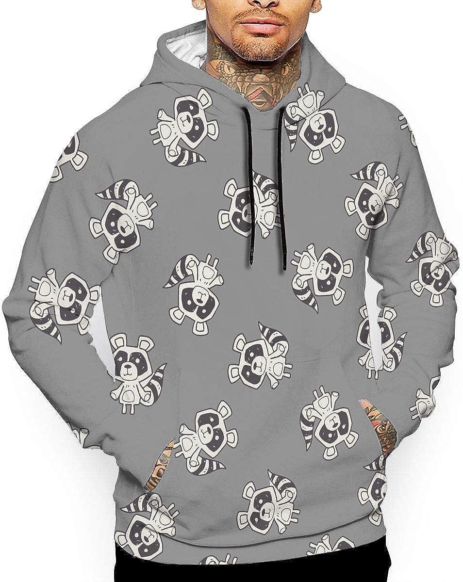 Eplus Mens Raccoon Cartoon Pattern Pullover Hooded Sweatshirt with Pocket