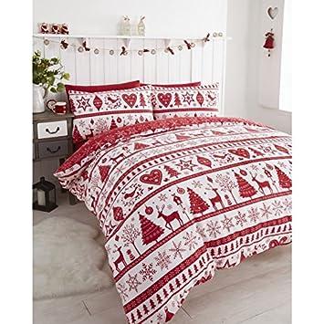 Amazon.com: Noel Christmas Tree Snowflake Reversible Duvet Quilt ... : red snowflake quilt - Adamdwight.com