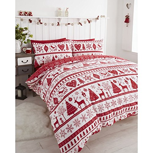 Noel Christmas Tree Snowflake Reversible Duvet Quilt Cover Bedding Set Red - UK Single / US Twin (Christmas Tree Quilt)