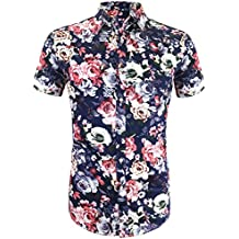 Daupanzees Men's Hawaiian Flower Shirts Aloha Printed Short Sleeve Button Down Shirt