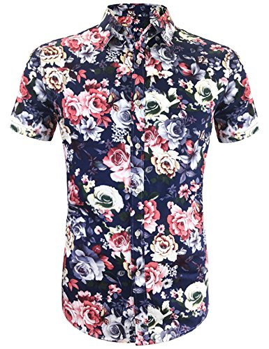 - Daupanzees Men's Funky Hawaiian Shirt Flower Tropical Aloha Shirts Unisex Casual Hawaiian-Print Party Button Down Short Sleeve Party Shirt (Navy Blue XXL)