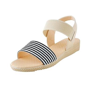 1d0d2717bc8894 OHQ Femmes Mode Flat Motif Rayé Peep-Toe Sandales Chaussures pour Beige  Noir Stripe Talon