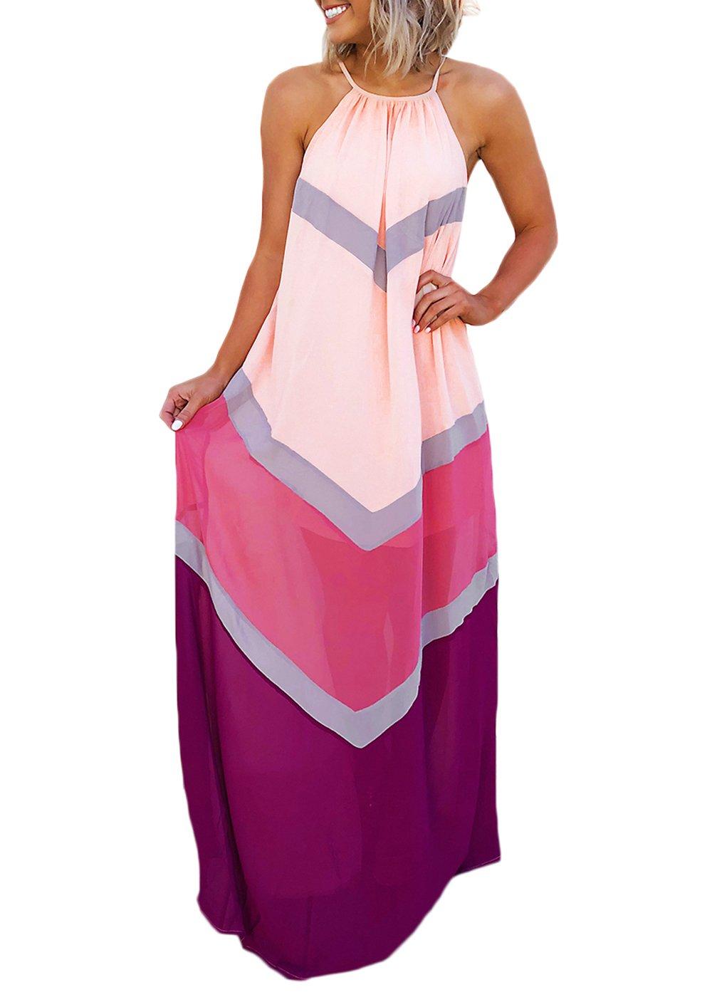 Joyfunear Women's Chiffon Halter Striped Color Patchwork Pleated Back Hollow Out Maxi Long Dresses Pink Purple Medium
