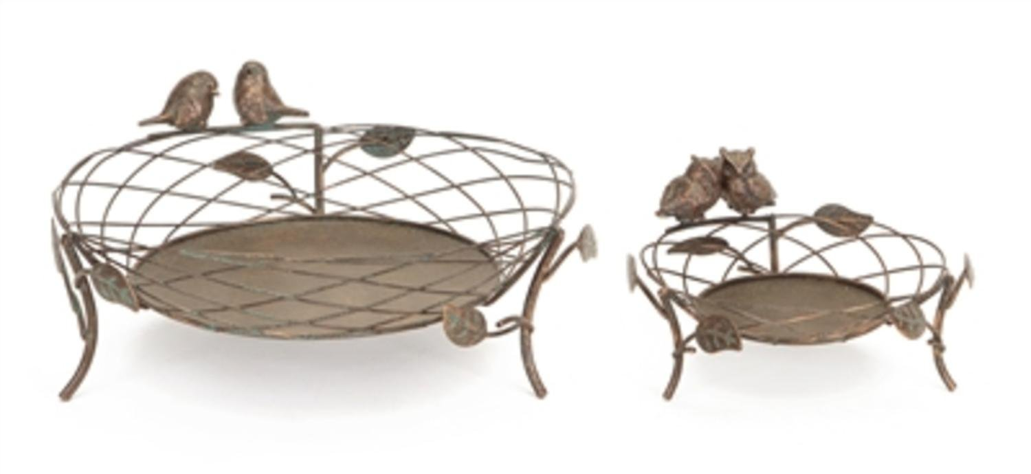 Melrose Pack of 2 Antique-Style Bronze Birds and Owls Pillar Basket Candle Holders 12''