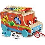 Camion con Animali Legno Xilofono Giochi Trainabili Educativi Giocattoli in Legno per i Bambini