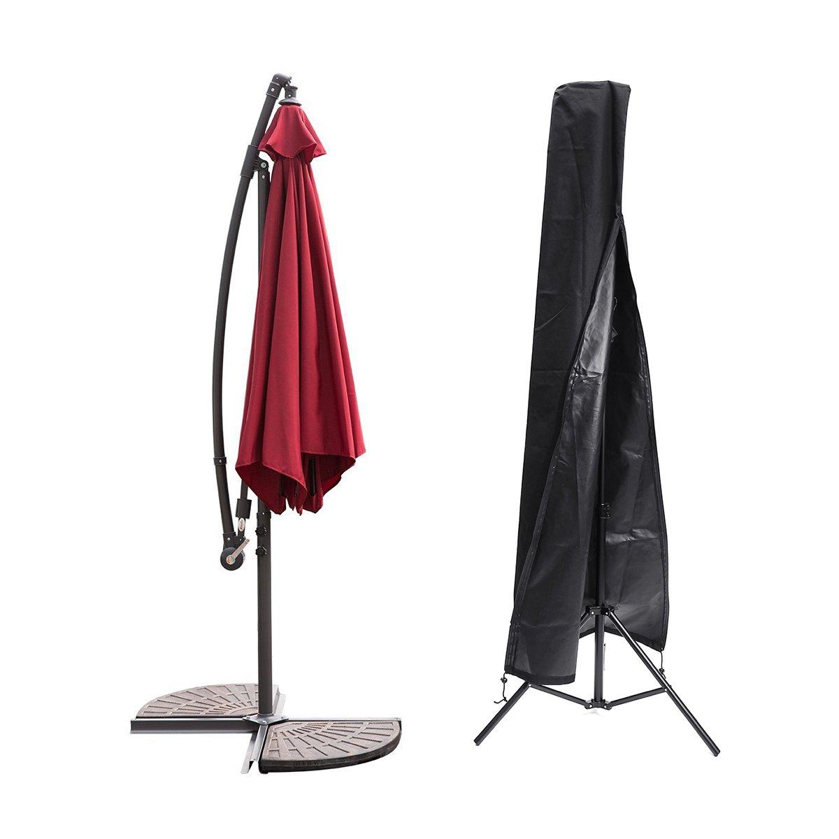 Essort Fodera Protettiva Per Ombrellone Impermeabile, Custodia Protettiva Nera per Ombrellone Adatto per Ombrelloni da Giardino, Copertura dell'ombrello del Patio all'aperto, 189cm × 57.5cm × 26cm