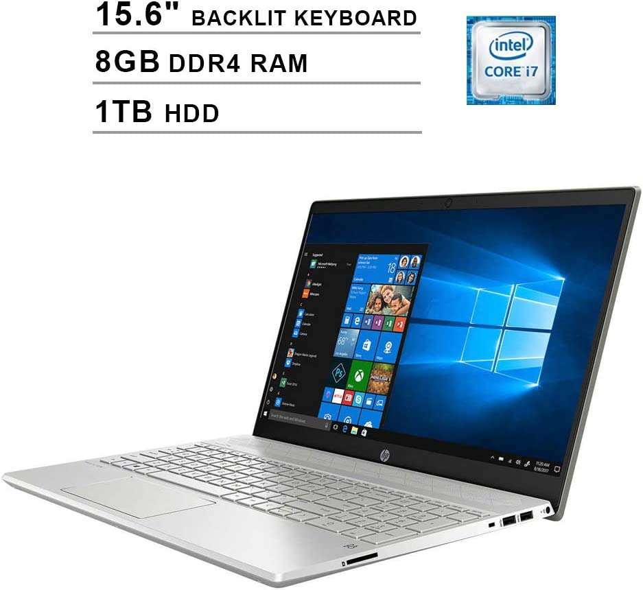2020 HP Pavilion 15.6 Inch FHD 1080P Touchscreen Laptop, Intel Core i7-1065G7 up to 3.9GHz, Intel Iris Plus, 8GB DDR4 RAM, 1TB HDD, Backlit KB, HDMI, WiFi, Bluetooth, Windows 10