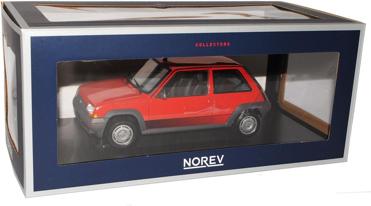 Renault R5 Supercinq GT Turbo Rot 3 Türer 1984-1996 1//18 Norev Modell Auto mit o