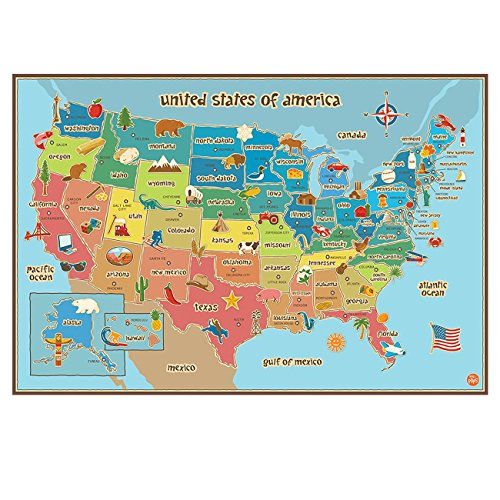 HUABEI Wall Decals United States Of America Geography Speciality Wall Stickers Education Student Kids Room Removable Maps Peel & Stick Wall Decals Stickers Nursery Home Decor Art by HUABEI