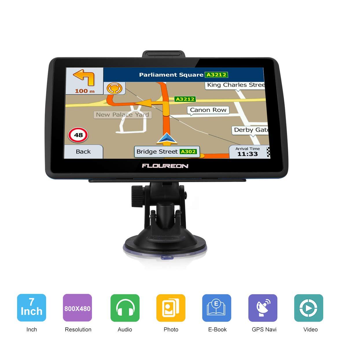 FLOUREON 7 Inch GPS Navigation SAT NAV Car Navigator Capacitive LCD Touch  Screen Lifetime Free European Map Updates Built-In 8GB 256MB Storage