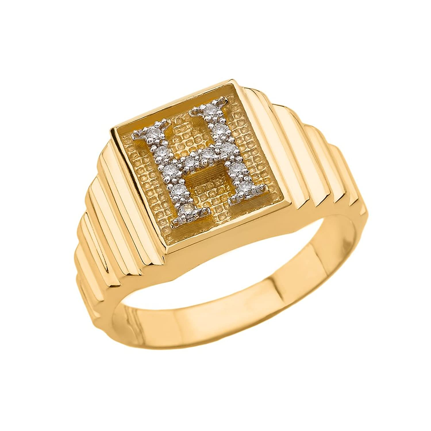 Men's 10k Yellow Gold Layered Band Square Face Diamond Initial Letter H Ring