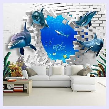 BHXINGMU Mural Personalizado 3D Dolphin Estereoscópico Roto Tv Tv ...
