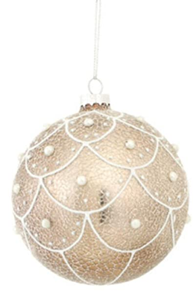 Victorian Style Pearl Accented Champagne Faux Crackle Finish Glass Ball Christmas Ornament