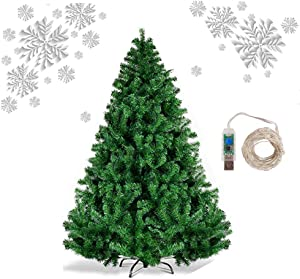 ZIOTHUM Christmas Tree for Home, Office, Xmas Pine Tree for Indoor Outdoor Holiday Decor, Party Decoration 1200 Branch Tips, Easy Assembly, Metal Hinges & Foldable Base