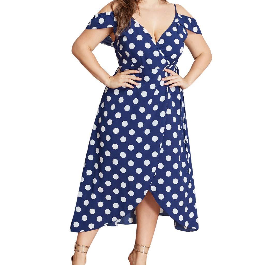 Juesi Womens Plus Size Dress,Casual Polka Dot Print V-Neck Irregular Hem Midi Dress Ladies Summer Beach Dress