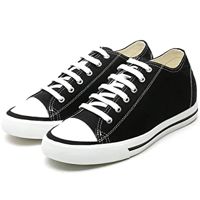3d7b28a2c40 CHAMARIPA Men s Chuck Canvas Shoes Sneakers 2.36 inches Height Increasing  Insoles AH52C08K011D Black   White US6