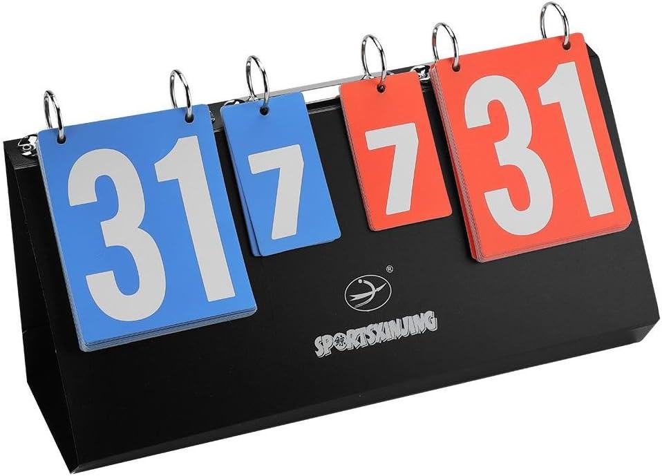 Dilwe scoreur Flip de Sports Cuadro de transición Cuadro de Score Cuadro gráfico Puntos 4dígitos de plástico para Tenis de Mesa Badminton Tenis Baloncesto