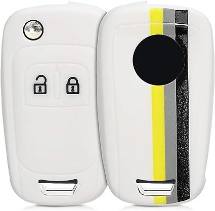 Carcasa Protectora kwmobile Funda de Silicona para Llave de 2-3 Botones para Coche Chevrolet Negro Suave - Case Mando de Auto Silicona de