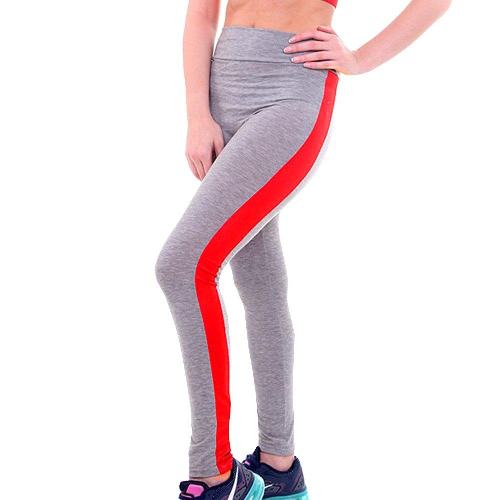 f7c25a40d594f6 Damen Leggings Jogginghose High Waist Tights Frauen Sporthose Elatisch  Yogahose Leder Patchwork Push Up Trainingshose Laufenhose größeres Bild