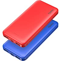 2-Pack Miady 10000mAh Dual USB Portable Charger, Fast Charging Power Bank with USB C Input, Backup Charger for iPhone X…