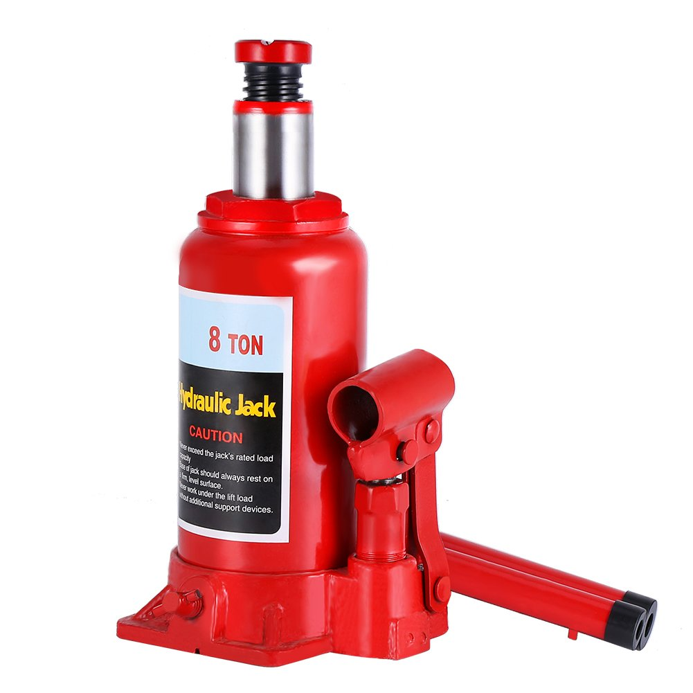 Hydraulic Bottle Jack, 8 Ton Capacity Red Portable Heavy Duty Hydraulic Jack Automotive Lifter for Car Caravan Tractors Truck