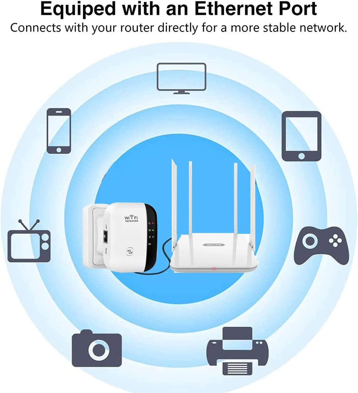300Mbps,WPS,con Porto Ethernet,Interfaccia di Alimentazione,Porta LAN,ADSL. MISSJJ Ripetitore WiFi WiFi Extender 2,4GHz