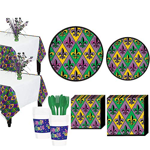 (Party City Mardi Gras Fleur-de-Lis Tableware Kit for 18 Guests, Includes Plates, Napkins, and Utensils)