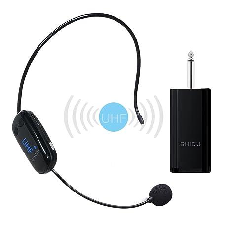 Versión mejorada Micrófono inalámbrico, transmisión inalámbrica UHF estable Auriculares inalámbricos inalámbricos de manos libres en
