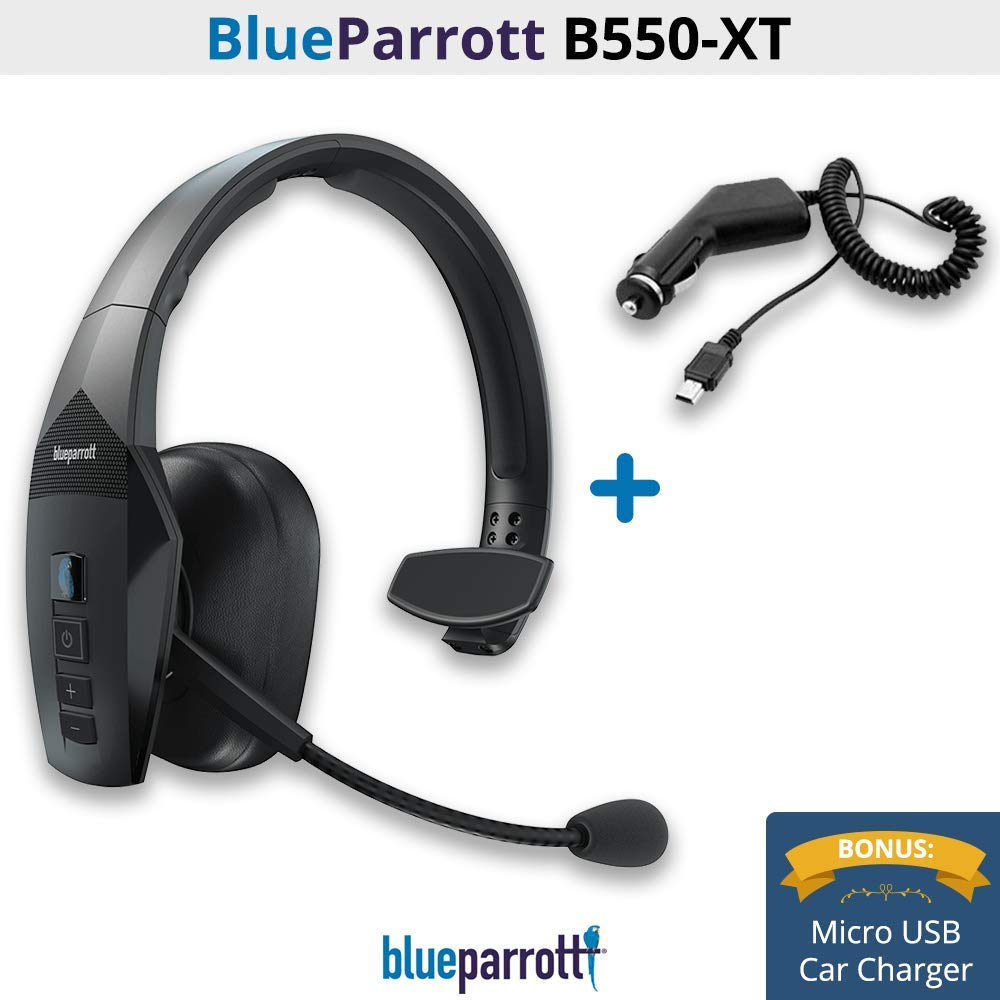 BlueParrott B550-XT Voice Controlled, Noise Canceling Wireless Headset (Headset with Micro USB Car Charger)