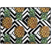 My Little Nest Area Rug Pineapples Black White Geometric Lightweight Non-Slip Soft Mat 410 x 68, Memory Sponge Indoor Outdoor Decor Carpet For Living Dining Room Bedroom Office Kitchen