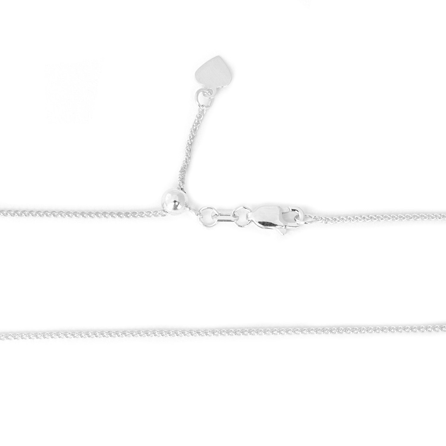 Solid 14k White Gold 1mm Adjustable Wheat Chain Necklace, up to 30''