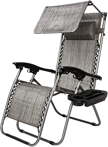 Knocbel Zero Gravity Outdoor Lounge Folding Chairs with Removable Cup Holder Sunshade Canopy for Patio Lawn Pool Porch Deck Gray