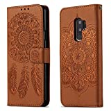 Samsung Galaxy S9 Plus Wallet Case , Premium dream catcher Design PU Leather + TPU Shockproof, Card Slots [Magnetic Closure] + Stand Function Folio Flip Book Case Cover for Galaxy S9 Plus (Brown)