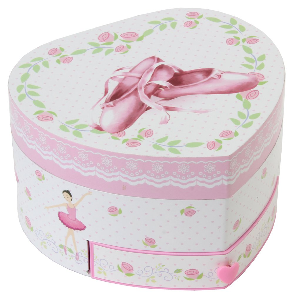 Musical Heart Shape Ballerina Shoes Jewellery Box Widdop YJB178