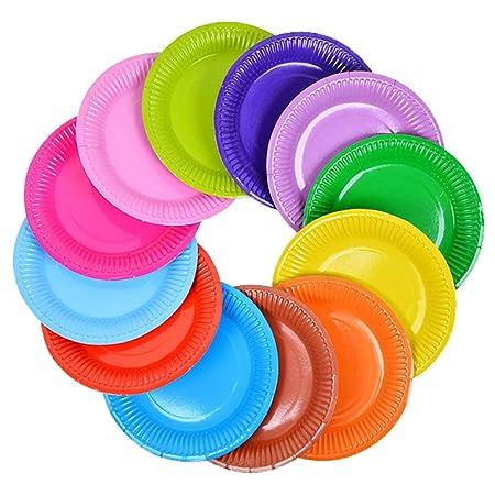 JIHUOO - Platos de Papel Desechables Multicolores para ...