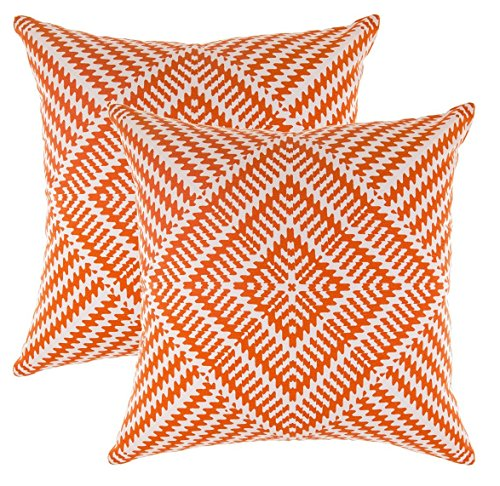 TreeWool, (2 Pack) Throw Pillow Covers Kaleidoscope Accent Decorative Pillowcases Toss Pillow Cushion Shams Slips Covers for Sofa Couch (16 x 16 Inches / 40 x 40 cm; Orange), White - Decorative Throw Inch 16