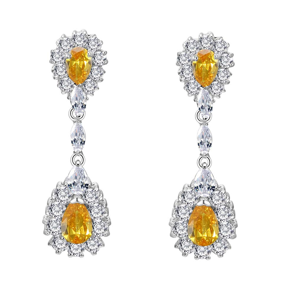 Lavencious Drop Dangle Rhodium Plated with AAA CZ Cubic Zirconia Bridal Wedding Party Prom Earrings for Women (Topaz)