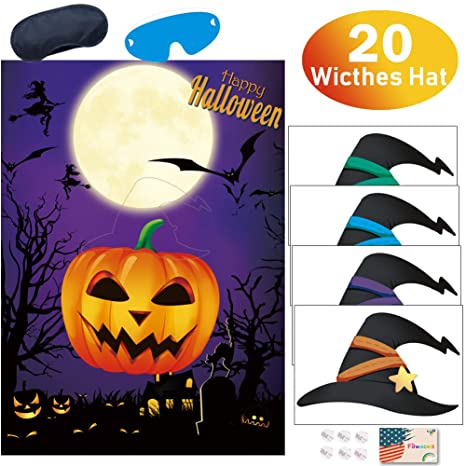 Amazon Com Kids Halloween Party Games Pin The Witches Hat