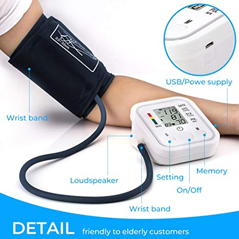 ... Monitors Portable LCD Screen Irregular Heartbeat Monitor with Adjustable Cuff and Storage Bag Powered by Battery -White4: Health & Personal Care
