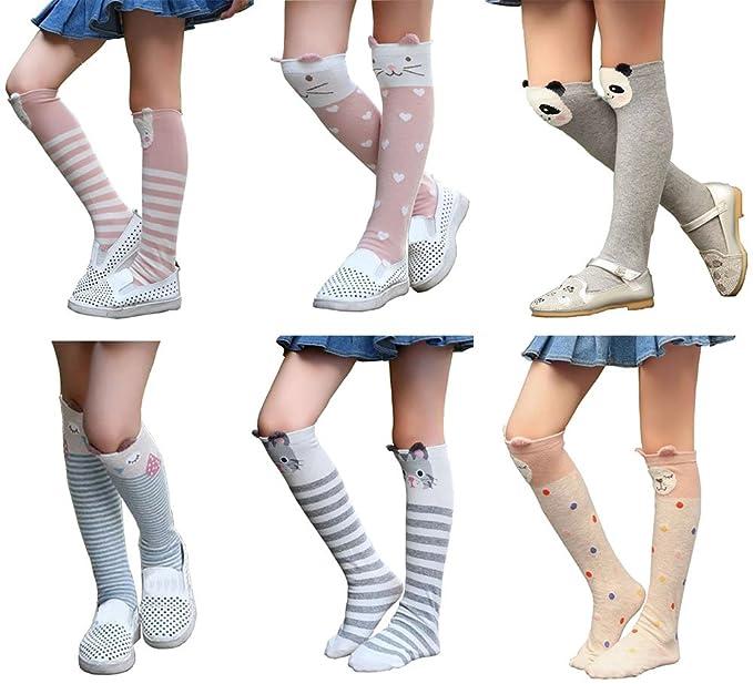 467a11aa8 Girls Knee High Socks Kids Cotton Catroon Animal Over Calf Stockings Tube  Socks Assorted 6 Colors