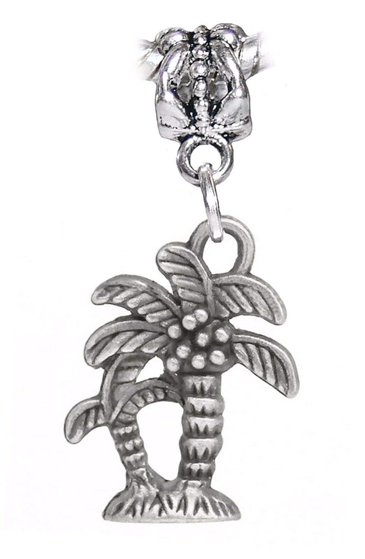 Palm Tree Tropical Island Beach Vacation Dangle Charm for European Bead Bracelet