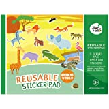 Jar Melo Reusable Sticker Pad; Animal World; 5 Scenes and Over 140 Stickers; Stickers Pad