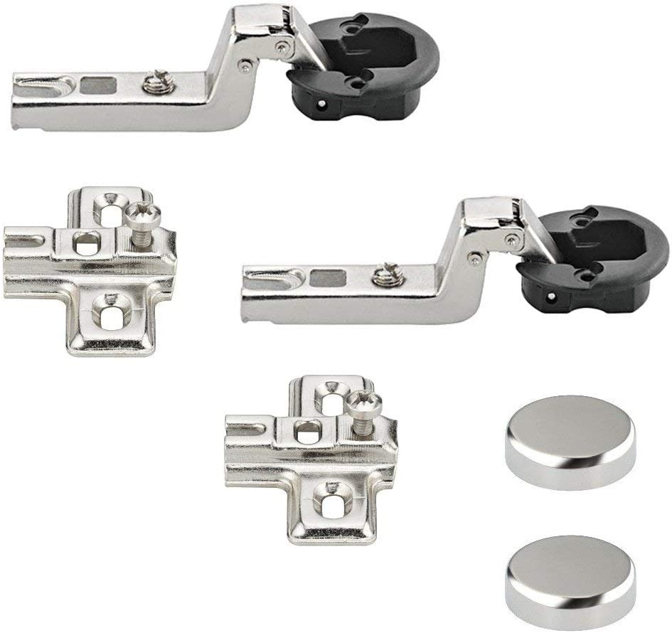 Bisagra de puerta de vidrio Gedotec METALLA | Cinturón de cierre automático | muebles con placa de montaje y tapa cromada | para vitrinas de cristal (2 piezas)